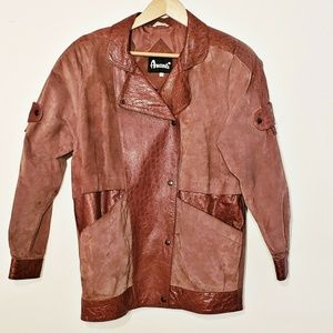 Avanti Vintage Brown Pig Suede Leather Jacket SML